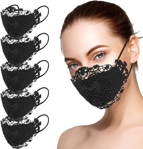 Designer Fashion Sexy Lace Face Mask Applique Washable Reusable Breathable Mouth Masks For Pary Halloween Cosplay Costume
