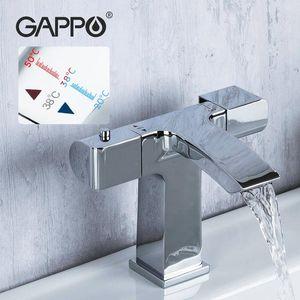 욕실 싱크 수도꼭지 Gappo 온도 조절 탭 물 분지 갑판 장착 믹서 폭포 세면기 수도꼭지