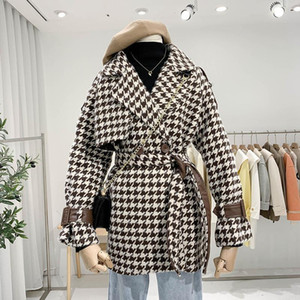 Bella Philosophy 2020 Houndstooth hembra abrigo elegante All-Match Match Down Down Colllar Woolen Coat Vintage Plaid Asas De Outwears