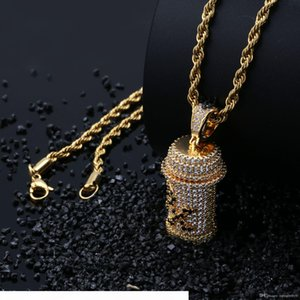 Iced Out Pendant Mens Hip Hop Jewelry Luxury Designer Necklace Diamond Pendants + Rope Chain Micro Paved Bling CZ Women Wedding Accessories