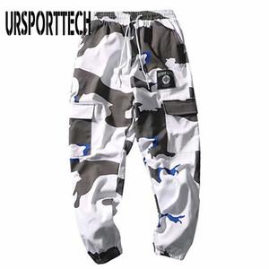 URSPORTTECH 남자 조깅 바지 군사 위장 카고 바지 남성 패션 캐주얼 하이 스트리트 바지 카고 바지는 201,111을 포켓