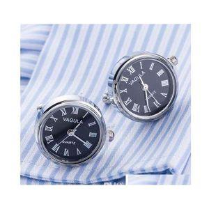 New Arrival Real Watch Cufflinks Vagula Clock Cuff Links With Battery Tourbill Machine Core Mechanical Gemelos 4Bnco