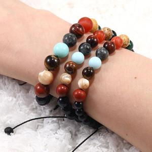 6mm 8mm 10mm Galaxy Planets Solar System Bracelet Handmade Braided Natural Stone Beads Energy Chakra Bracelets For Women Men