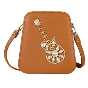 Новые Женщины Сумка Messenger PU Сумка Повседневная Мода Симпатичная Кристаллическая Гитара Стиль Женская Женщина