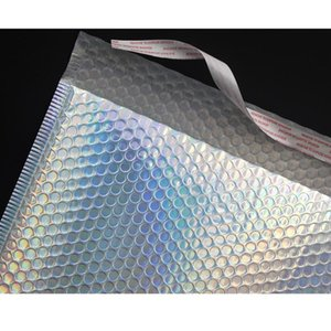 10 adet Lazer Gökkuşağı Postacılar Posta Zarf Torbaları Su Geçirmez Kurye Kabarcık Mailer Lazer Gümüş Yastıklı Zarf Jllrum