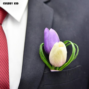 5pcs lot ! wholesale high simulation artificial PU tulips calla lily groomsmen corsages fake Flower Wedding Brooch Boutonnieres