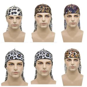 Мужчины женщины мода леопардовый принт Имитировал шелковую ткань длинный хвост капюшон шляпа хип-хоп пираты шляпа головы крышка крышки крышки черепа шапочки E122811