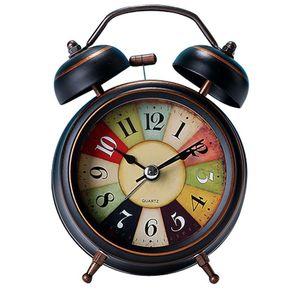 Vintage Style Portable Cute Mini Cartoon Double Bell Alarm Round Number Table Digital Clock Home Desk Decor