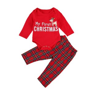 2Pcs Baby Christmas Suit Letter O-Neck Long-Sleeves Rompers Top + Grid Elastic-Waist Loose Pants for Toddler Boys Girls 0-18 M