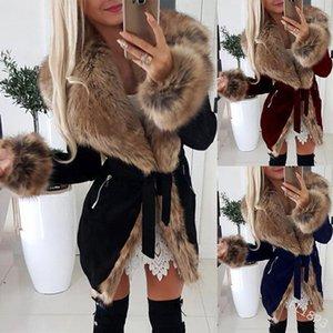 WEPBEL Women's Long Coat Plus Size Jacket Clothing Winter Fur Women Slim Mid-Length Coat Cotton Warm1