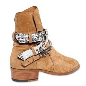 Heiße Verkaufs-neue Saison Mann Bandana Buckle Boots Brown Kanye West Runway Western-Cowboy-Stiefel Bandana Ami Kettenstiefel Schuhe