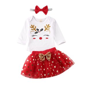 3Pcs Christmas Newborn Baby Girls Clothes Sets Cartoon Print Romper Tops Lace Tutu Skirt Headband Outfits 0-18M