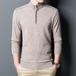 Homens 100% Wool Sweater 2020 Outono Inverno gola Pure Cashmere Quente malha Zippers Camisolas Camisolas