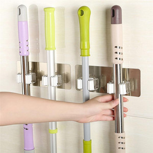 Multifunctional Self-Adhesive Seamless Stickers Mop Rack Kitchen Broom Rack Kitchen Bathroom Hooks Mounted Wall Hook
