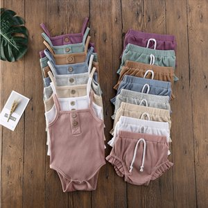 Baby Clothing Sets Infant Girls Suspender Tops Shorts 2pcs set Solid Striped Jumpsuits Ruffle Children Outfits Boutique Clothes M3242