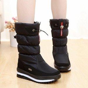 WOMen Boots platform snow boots women mid-tube winter thick waterproof non-slip high tube plus velvet slip resistant winter shoe