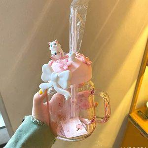 600 ml Pembe Sakura Sevimli Kedi Starbucks Saman Kupası Cam Içme Saman Soğuk İçecek Kupası En İyi Hediye Ürünü