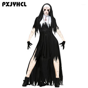 Theme Costume Halloween Nun Scary Cosplay Women Black Vampire Fantasy Dress Terror Sister Party Disguise Sets Female Fancy For Adult1