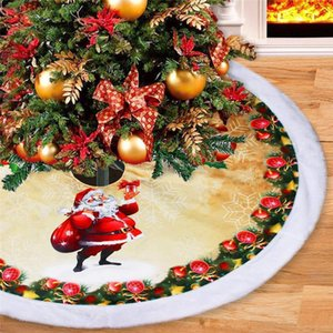 39 Inch Christmas Tree Plush Skirt Decoration for Merry Christmas Party Faux Fur Christmas Tree Skirt Decorations GWE2430