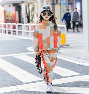 Fashion Children camouflage Cargo Outfits Cool Girls Zipper Long Sleeve Jacket+Cargo Pants 2Pcs Street Big Kids Sets 3-15T A5668
