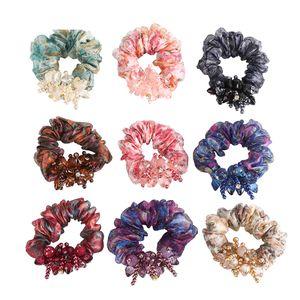 Retro Women Flowers Hair Scrunchies Net Yarn Hair Ring Rope Rubber Band Hair Ponytail Accessories High Elastic