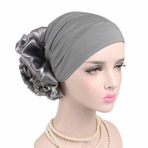 Neue Frauen Hijabs Große Blumen Indien Damen Hut Muslim Frauen Hijabs Hut Mütze Schal Turban Kopf Wrap Cap Frauen Hüte