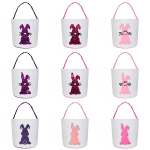 Sequin Bunny Basket Easter Sequin Rabbit Canvas Baskets Easter Rabbit Printed Tote Bag Kids Egg Candy Bag