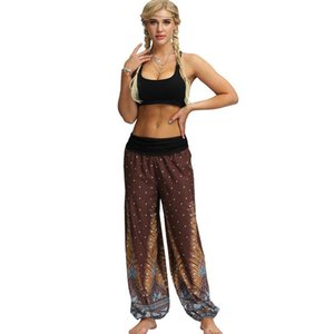 Mulheres Yoga Calças de Moda Pena Impressão Tailandesa Estilo Jogadores Na Moda Novidade Damas de Damas Pants Largura 2020 Novo Atacado