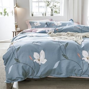 "white flowers 100% cotton 78.7""x90.5"" duvet cover flat sheet pillow case bedding set 4pcs"