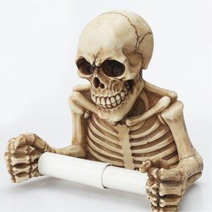 Squelette décorations papier effrayant domestique accueil accessoires de salle de bain pendentif mur de toilette club de club de toilette rouleau résine crânes halloween suspendus y201006 qdbu