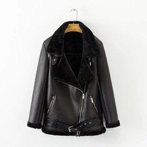 Ailegogo Inverno Donne Faux Leather Agnello femminile spesso caldo tuta sportiva Ecopelle Lambs Wool Fur Collar Suede Jacket cappotti