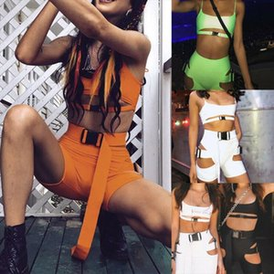 Womens Bodycon 2 Pieces Outfits Spaghetti Strap Cutout Buckle Tank Crop Top High Waist Shorts Tracksuit Set Clubwear Black