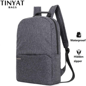 TINYAT Men Laptop Backpack for 15 ''Computer Mochila Escloar Waterproof School Backpack Bag for teenage Canvas Shoulder