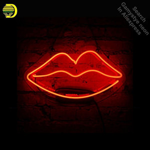 Red Lip Lip Neon Sign Regalo Dresser Rossetto Handcrafted Neon Bulbs firmare il tubo di vetro Iconic Decorare la lampada da parete Segni Scheda chiara