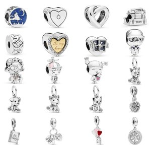 925 Sterling Silver luxury women's jewelry dog mouse fox telescope book boy heart pendant loose beads fit Pandora Bracelet Necklace DIY