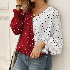 Frauen V-Neck Polka Dot Wave Point Bluse Damen Sexy Laterne Langarm Patchwork Herbsthemden Weiblich