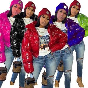 Mulheres Inverno Wadded Jaquetas Zipper Algodão-acolchoado Casaco PU Brilhante Stand Gola Parka Windstopper Puffer Coats Candy Color Warm Jacket F110409