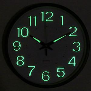 Luminous Metal Wall Clock Silent Simple 3d Digital Quartz Wall Clocks Nordic Night Bedroom Montre Murale Home Watches AB50WC