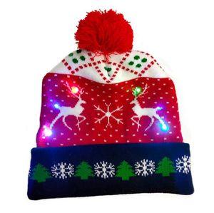 Chapeau de Noël LED Bonnet tricoté Pull tricoté Bonnet Christmas Christmas Swicked Hat Noël Cadeau de Noël Noël 2021 Nouvel An Bwa2693