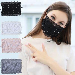 Modedesigner Masken Perlen-Spitze-Gesichtsmaske Verstellbare Schleife Anti-Staub waschbare Gesichtsmaske Wiederverwendbare Ice Silk für Erwachsene 4 Farbmaske w-00350
