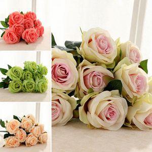Artificial 9 Heads Non-fading-Rosen-Blumen Vivid Brautstrauß Hochzeit Desktop-OIrnament Beautiful Home Dekoration H7nQ #
