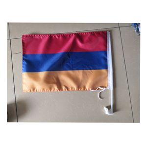 12x18inches Qualitäts Armenien Autofahne Sublimation Flagge 100D Polyester Autofenster Fahnen mit 43cm Plastikpfosten freies Verschiffen Drucken