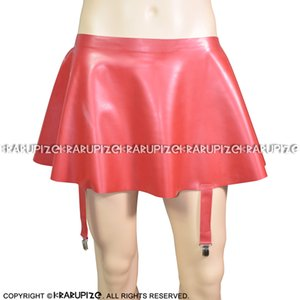 Red Sexy Mini Swing Latex Skirts With Garters Rubber Bottoms 0005