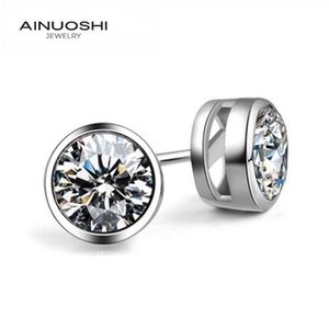 Ainuoshi Cut Redondo 5mm 6mm 7mm SONA Diamond Slown Stud Pendientes para mujeres 100% Real 925 Silver Jewelry Regalos