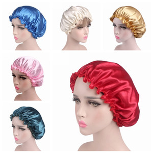 Cheapest Silk Satin Sleep Cap Solid color Breathable Bandana Night Sleeping Turban Hat headwrap Bonnet Women Head Cover for Hair care
