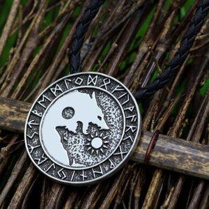 youe shone Pagan Nordic Amulet Large Chain Men Norse Vikings Runes Amulet Wolf Pendant Necklace