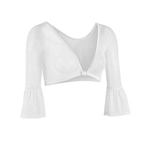 Shirt Women Ladies Both Side Wear Sheer Plus Size Seamless Arm Shaper Top Mesh Shirt Blouses 2019 Fashionable #251
