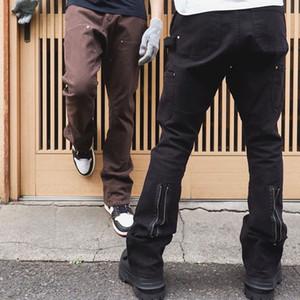 Vuja de Vintage Flare Cargohose Vuja Dé Techniker Cargo-Jeans Utility-Washed Rückseite Reißverschluss Lange Hose beiläufig Hip Hop Street Techwear