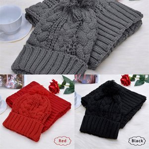 Вязание Зимний шарф Волосатые Болл Keep Warm Twist Pattern шейных платков Удобный набор Soft Proof холодной Cap Высокое качество 20dr F2