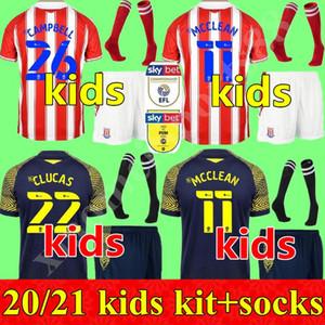 NOUVEAU 2020 2021 Jeunesse Stoke City Soccer Jerseys Vokes Powell McClean Afobe Afobe Away Child 20 21 Kids Shirt Football Kit